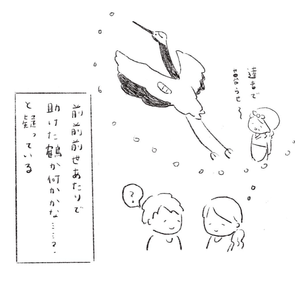 前前前世あたりで助けた鶴か何かかな?と疑っている