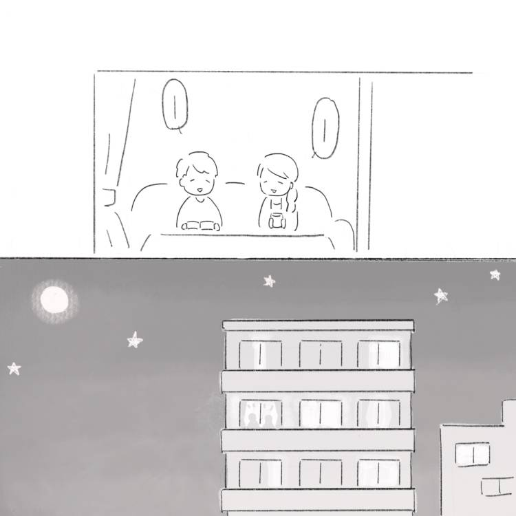 話をする私たちのシルエットがマンションの窓に浮かび上がる