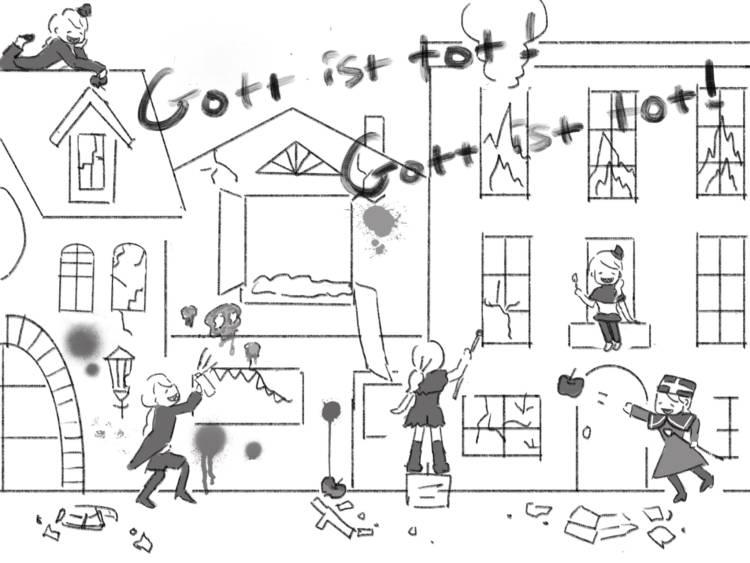 子どもたちが窓を割り、りんごを投げつけ、十字架を折り、建物に火をつけている絵。「Gott ist tot! ! Gott bleibt tot! (神は死んだ)」